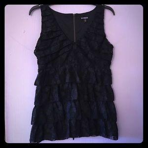 Black lace & ruffle top EXPRESS